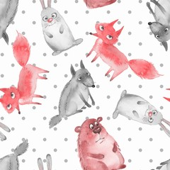 Seamless pattern with cartoon forest animals 2. Wolf, bear, fox and hare
