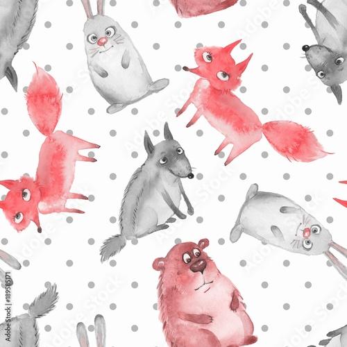 Materiał do szycia Wzór z kreskówka las zwierząt 2. Wilk, niedźwiedź, lis i zając