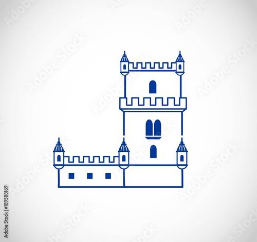 Belem Tower of Lisbon - thin line srt VECTOR