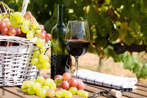 still life with glass of red wine grapes and picnic basket on table