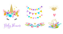 Unicorn Head  Flowers  Card And Shirt Design Sticker