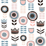 Seamless pattern with decorative flowers in scandinavan style. Creative botanical background. Perfect for kids apparel,fabric, textile, nursery decoration,wrapping paper.Vector Illustration - 189593533