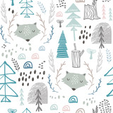 Seamless woodland pattern with wolf heads. Creative height detailed background. Perfect for kids apparel,fabric, textile, nursery decoration,wrapping paper.Vector Illustration - 189593564