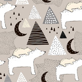 Seamless childish pattern with polar bear mom and baby. Creative kids design. Perfect for fabric, textile, warpping, nursery.Vector Illustration - 189593586