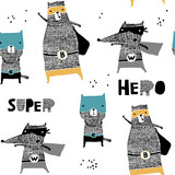 Seamless pattern with hand drawn cat,bear, wolf hero. Creative childish texture in scandinavian style. Great for fabric, textile Vector Illustration - 189593714