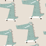 Seamless pattern with crocodile on skateboard. Creative bay animals background. Perfect for kids apparel,fabric, textile, nursery decoration,wrapping paper.Vector Illustration - 189593782