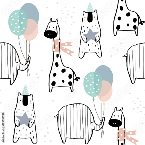 Seamless pattern with hand drawn giraffe, elephant, bear and party elements. Creative childish texture in scandinavian style. Great for fabric, textile Vector Illustration - 189593748