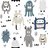 Childish seamless pattern with cute boys monsters. Trendy scandinavian vector background. Perfect for kids apparel,fabric, textile, nursery decoration,wrapping paper - 189594303