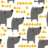 Seamless pattern with hand drawn cute dogs. Creative childish background. Perfect for kids apparel,fabric, textile, nursery decoration,wrapping paper.Vector Illustration - 189594320