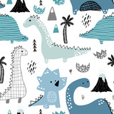 Childish seamless pattern with hand drawn dino in scandinavian style. Creative vector childish background for fabric, textile - 189594332