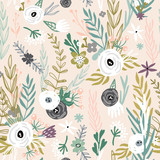 Seamless pattern with hand drawn flowers. Creative botanical background. Perfect for kids apparel,fabric, textile, nursery decoration,wrapping paper.Vector Illustration - 189594333