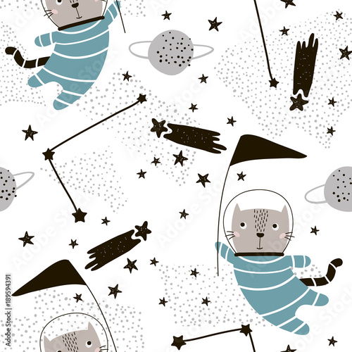 Seamless childish pattern with cute cats astronauts. Creative nursery background. Perfect for kids design, fabric, wrapping, wallpaper, textile, apparel - 189594391