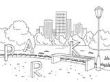 Park graphic black white bench lamp landscape sketch illustration vector - 189596509