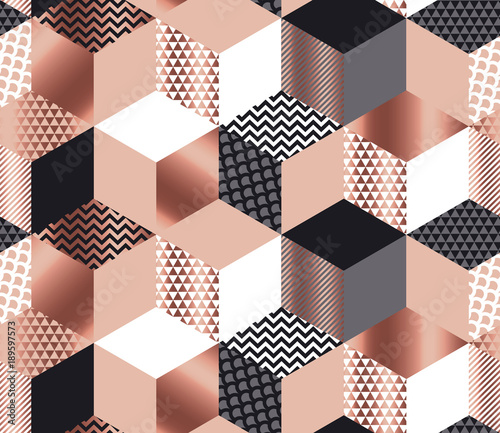 Luxury geometric shapes mosaic in rose gold, gray, white and black colors. Geometry cube and hexagon seamless pattern. - 189597573