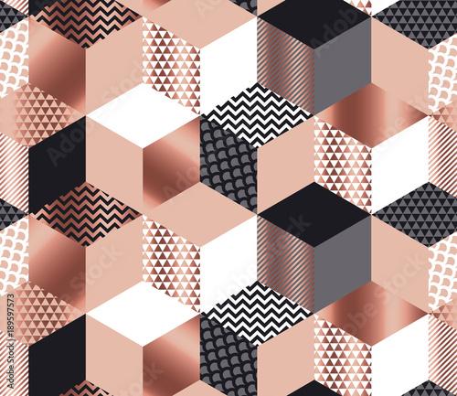 luksusowa-mozaika-geometrycznych-ksztaltow-w-kolorach-rozowego-zlota-szarosci-bieli-i-czerni-geometria-szescianu-i-szesciokata-powielany-wzor