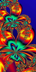Flower pattern in fractal design. Orange and blue palette. Artwork for creative design, art and entertainment.