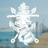 Cross harpoons and mermaid crucified on anchor. Marine vintage label on blurred sea photo background