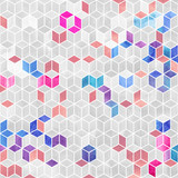 Watercolor mosaic. Bright summer pattern with watercolor cubes. - 189605968