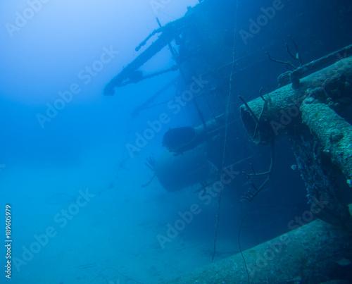 Fotobehang Schip ship wreck Hilma Hooker Bonaire island caribbean sea underwater