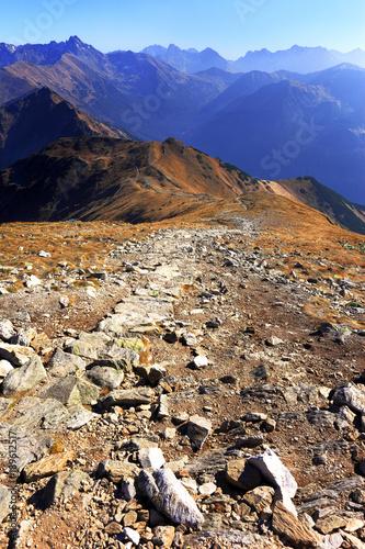 Poland, Tatra Mountains, Zakopane - Pass under Kopa Kondracka, Goryczkowa Czuba, Zolta Turnia, Swinica, Koprowy and Hruby peaks with Western Tatra in background