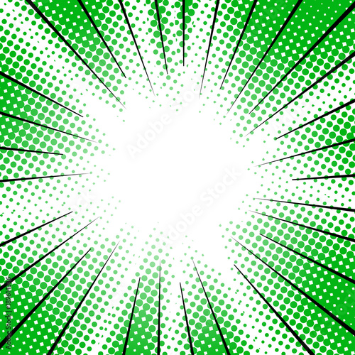 green radial motion lines halftone for manga superhero - 189614336