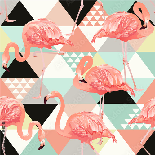 Exotic beach trendy seamless pattern, patchwork illustrated floral vector tropical banana leaves. Jungle pink flamingos. Wallpaper print background.