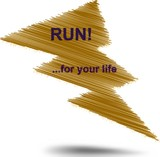 Run for your life hatched text thunderbolt buble in brown color