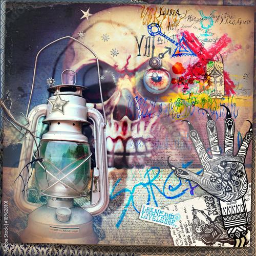 Deurstickers Imagination Teschio macabro e gotico con mano alchemica e lanterna