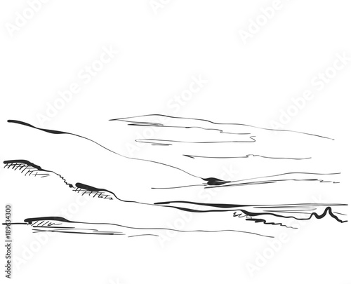 Vector illustration. Hand drawn Mountains sketch landscape with grass and tree. Line design.