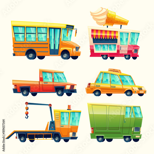 Fotobehang Auto Transport vehicles vector cartoon icons. Isolated flat colorful public and passenger set of school bus or taxi and recovery tow truck, ice cream promo vending van and armored minivan or pickup car