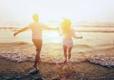 happy couple on beach holidays