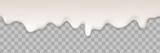Yogurt creamy liquid or yoghurt cream melt splash flowing background. Vector white milk splash or ice cream flow soft texture on transparent background for sweet dessert design - 189639123