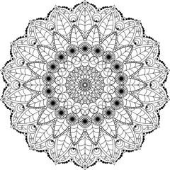 Mandala adult coloring book. Vector illustration. Leaves and flower motifs. Meditation mandala.