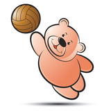 bear vector cartoon playing with volleyball