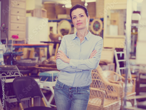 Woman standing in home decor furnishings shop