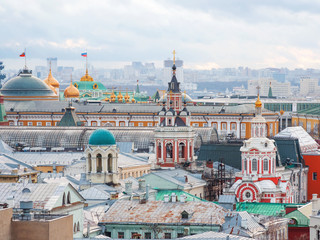 Aerial view on historic center of Moscow from Central Children Store. View on Zaikonospassky monastery, Main Department store, other landmarks. Moscow, Russia.