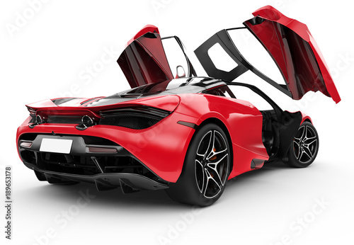 Red modern sport car with oper doors