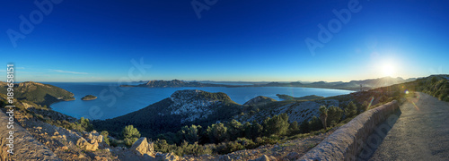 Foto Murales Blick in den Sonnenuntergang über Mallorca