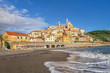 Quadro View of Cervo town from the beach, Province of Imperia, Liguria, Italy