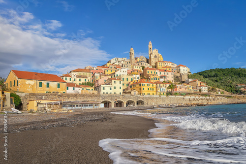 Poster Liguria View of Cervo town from the beach, Province of Imperia, Liguria, Italy