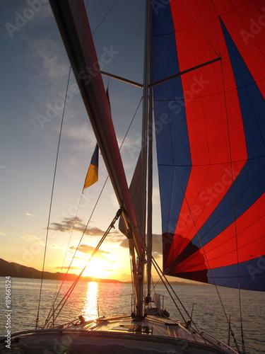 Fotobehang Zeilen Maritime sunset