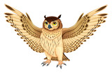 Funny owl with opened wings