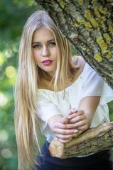 Stylish young blonde woman