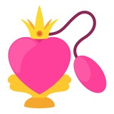 Pink perfume bottle icon, cartoon style