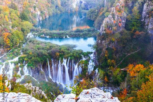 Foto op Aluminium Lavendel Waterfalls, Plitvice National Park, Croatia