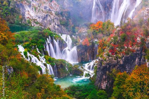 Waterfalls, Plitvice National Park, Croatia - 189676975