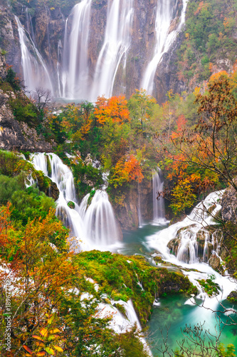Foto op Canvas Lavendel Waterfalls, Plitvice National Park, Croatia