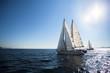 Luxury yacht boats at the Sea. Sailing regatta. Cruise yachting.
