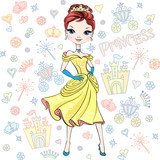Beautiful fashion girl top model princess in the crown and in a beautiful dress