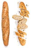 Whole and sliced multigrain bread.